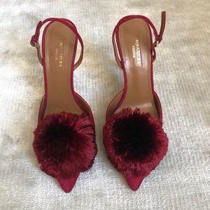 AQUAZZURA Suede Slingback Powder Puff 105 Heels
